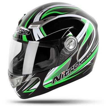 Nitro Каска за Мотор Ballistic Black / Green (Full Face)